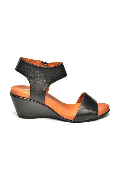 Hakiki Deri Pietra Ortopedik Sandalet Siyah