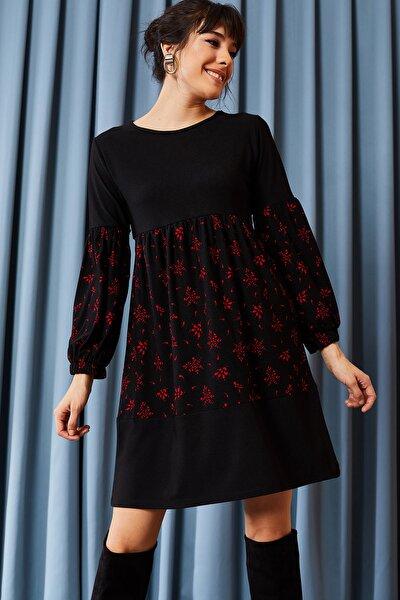 Kadın Siyah Kırmızı Blok Garnili Salaş Elbise ELB-19001017