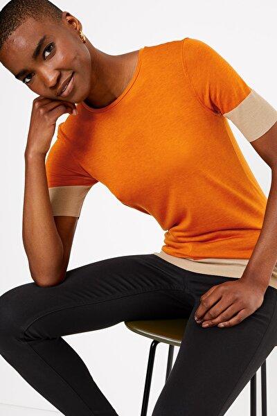 Kadın Taba Kısa Kollu Renk Bloklu T-Shirt T53001141T