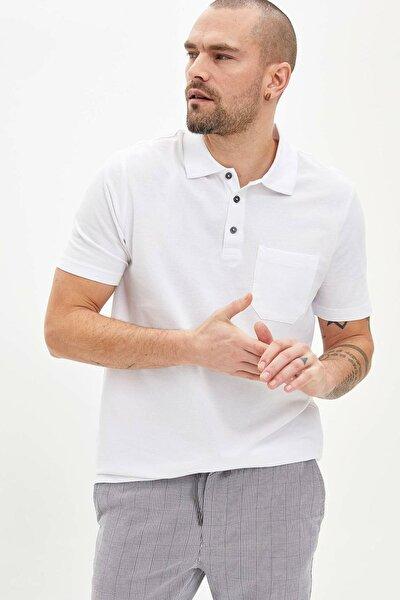 Erkek Beyaz Relax Fit Basic Polo T-Shirt M7726AZ.20SP.WT34