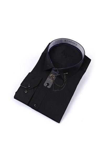 Yaka Zincirli Slim Fit Siyah Gömlek