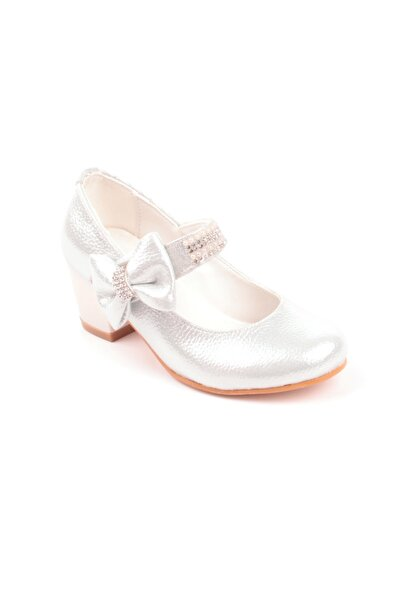 Kız Çocuk Beyaz Taş Işlemeli Topuklu Ayakkabı