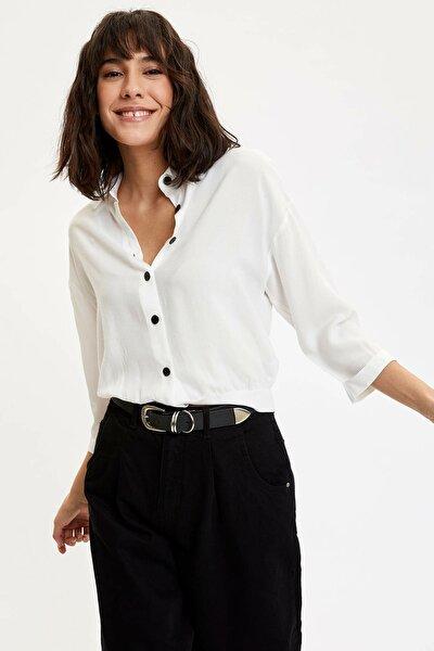 Kadın Beyaz Düşük Kol Uzun Kollu Gömlek N3701AZ.20SP.WT34