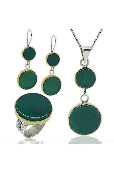 Gümüş Yuvarlak  El Işi Yeşil Akik Taşlı Kadın Set Takı