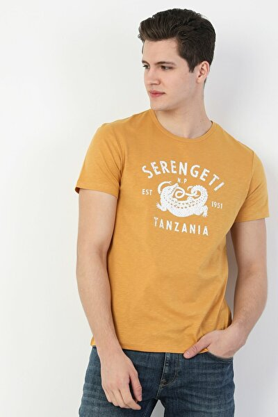 Regular Fit Yazılı Erkek Sarı Erkek Kısa Kol Tişört