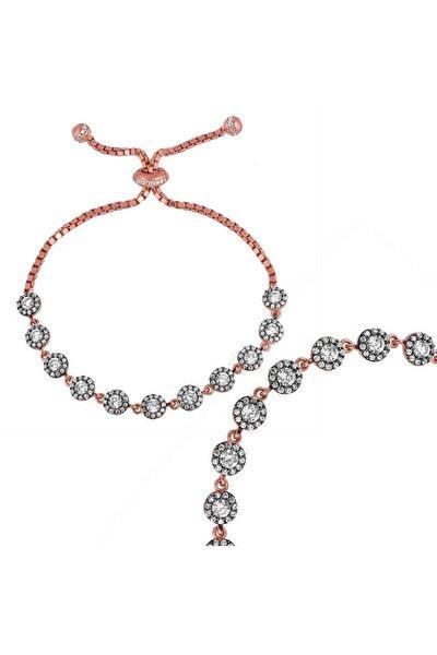 Kadın Elmas Montür Asansörlü 925 Ayar Gümüş Bileklik