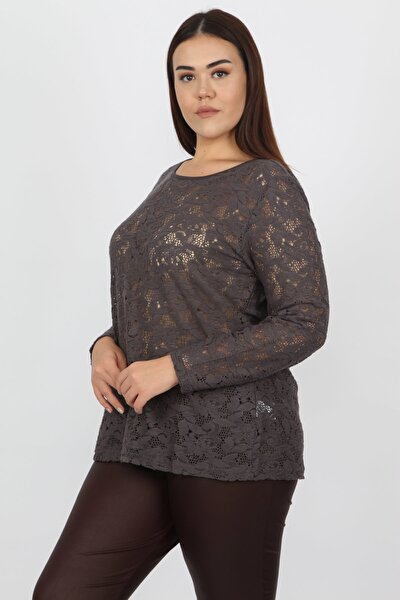 Kadın Füme Dantel Detaylı Bluz 65N14813