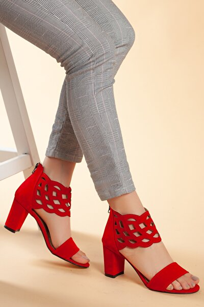 Kırmızı-Süet Kadın Ayakkabı DXTRSAYŞ202