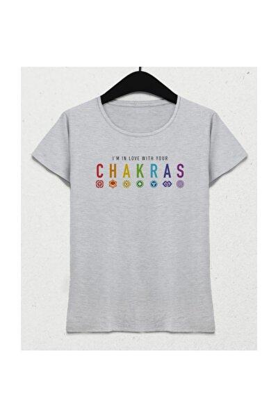 Chakras Yoga Gri Kadın Tişört
