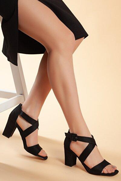 Siyah-Süet Kadın Ayakkabı DXTRSFLDN208
