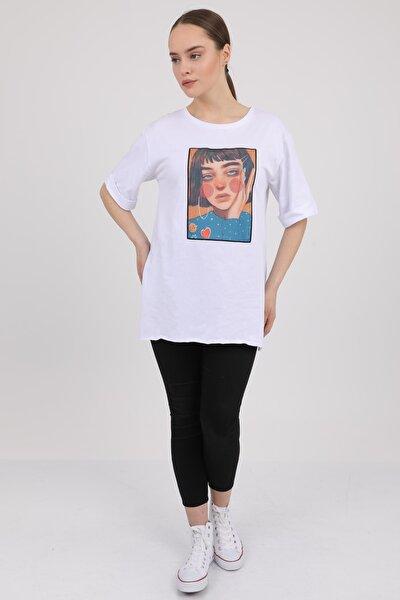 MD trend Kadın Beyaz Bisiklet Yaka Baskılı Yırtmaçlı T-Shirt Mdt3153
