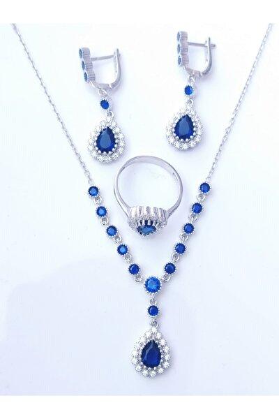 925 Ayar Gümüş 3 Lü Set Mavi Zirkon Taşlı Gerdanlık