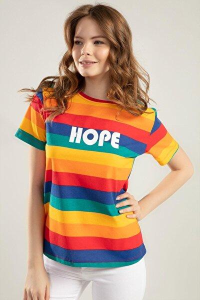 Kadın Renk Bloklu Kısa Kollu Tişört Y20s110-4140