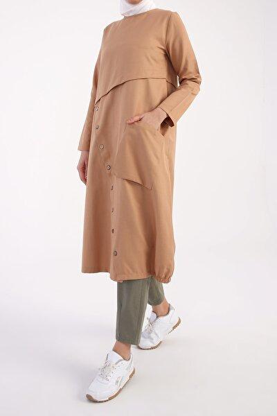 Kadın Kahverengi Düğme Detaylı Tunik