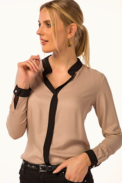 Kadın Bej Önü Şeritli Gömlek ARM-18K001255