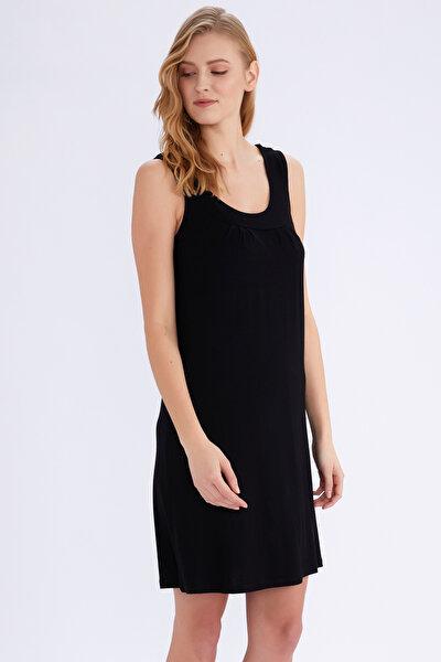 Kadın Siyah Kolsuz Elbise 59431