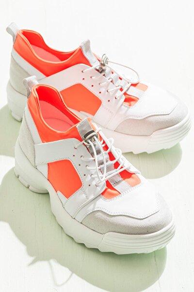 BRUN Beyaz Turuncu Kadın Sneaker
