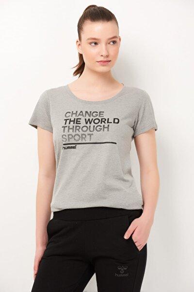 HMLFLORELLA T-SHIRT S/S GRI MELANJ Kadın T-Shirt 100580936
