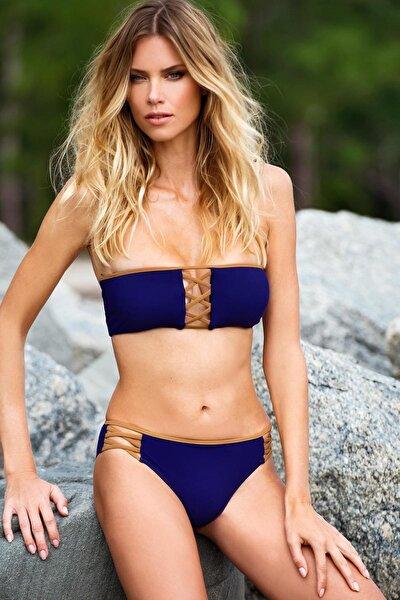 Kadın Mor Straplez Çapraz Biyeli Bikini Takımı