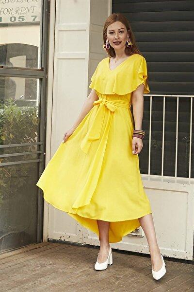 Kadın Sarı Volanlı Elbise FM5048