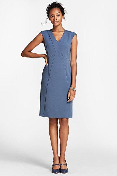 Kadın Mavi V Yaka Elbise