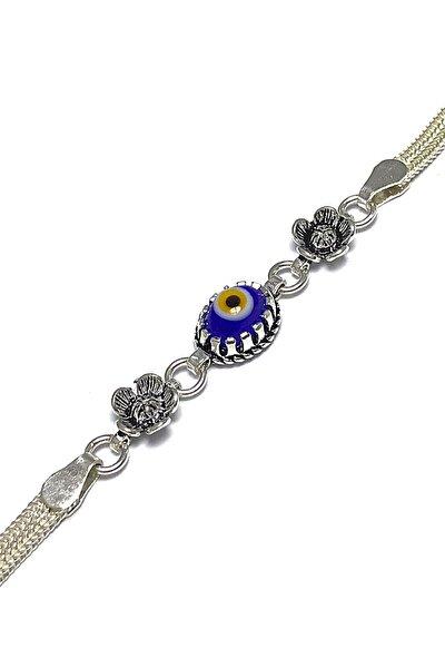 Kadın Mavi Nazar Taşlı Mardin Hasırı Gümüş Bileklik 2020500