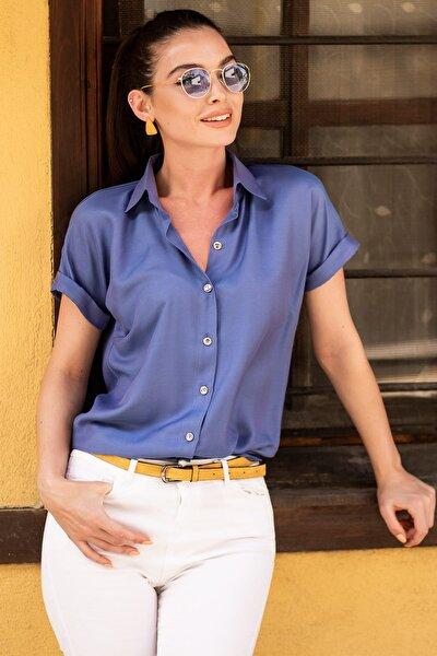 Kadın İndigo Kısa Kol Gömlek ARM-19Y001088