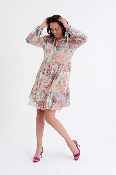 Kadın Bej Çiçek Desenli Uzun Kollu Büzgülü Yaka Detaylı Elbise HN1809