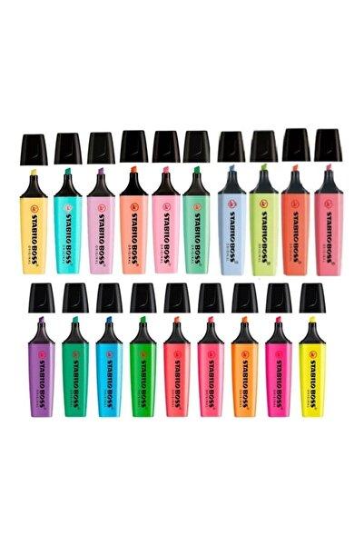 Boss 15 + 4 ( Yeni Pastel Renk ) Renk Özel Seri Işaretleme Kalemi