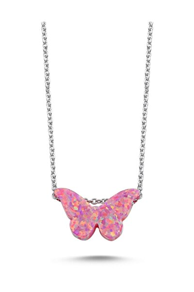 Kadın Gümüş 925 Ayar Pembe Opal Kelebek Kolye N86723