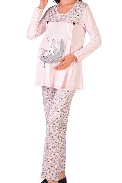 Kadın Pembe Uzun Kollu Hamile Pijama Takımı