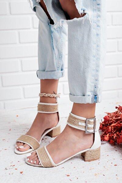 Beyaz Kadın Sandalet 19LUK15