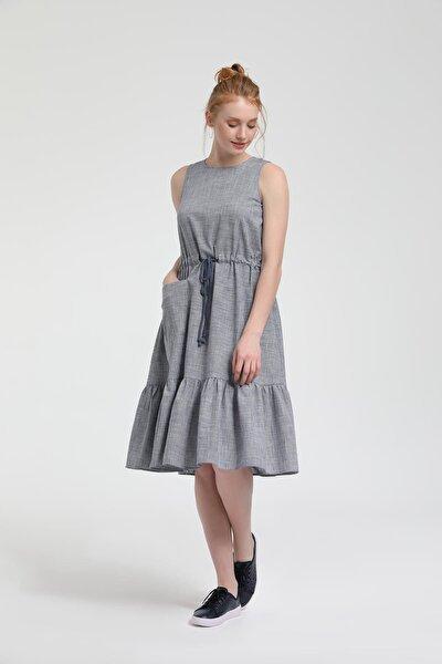 Kadın Lacivert Ekose Kolsuz Elbise HPPYHS80LCV