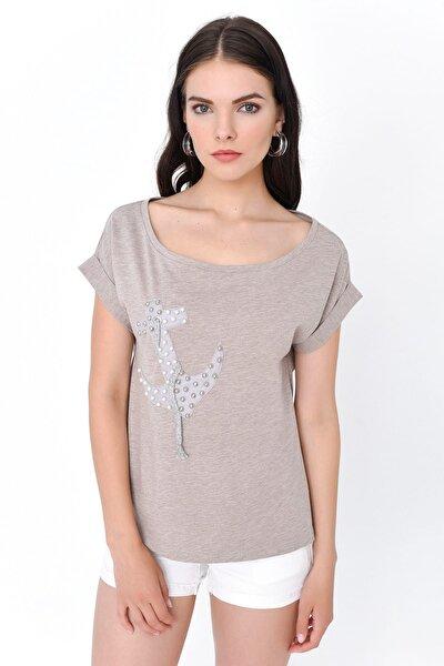 Kadın Bej Çapa Baskılı Kısa Kollu T-shirt HN1909