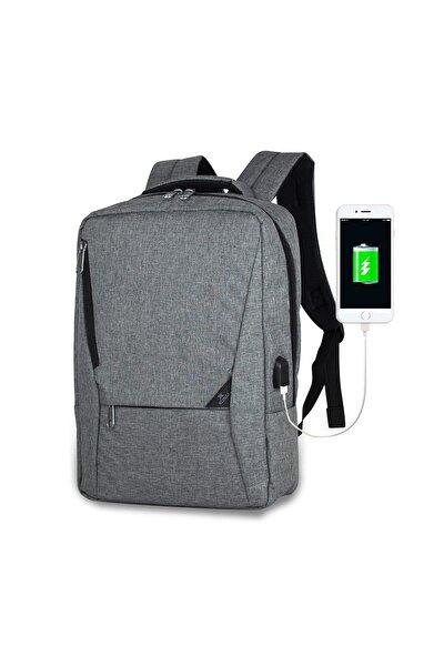 Unisex Active Usb Şarj Girişli Slim Notebook Sırt Çantası Gri Mv0096