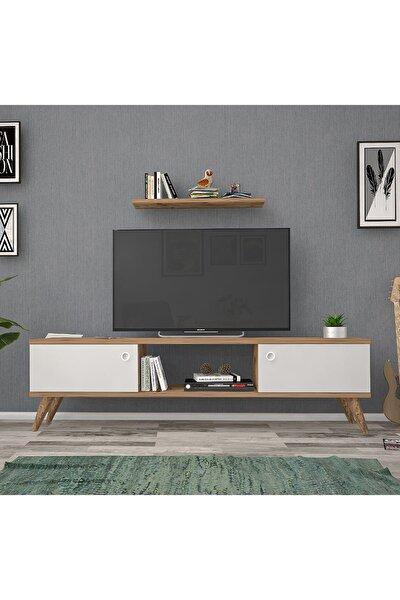 140 Cm Eda Ceviz-Beyaz Tv Ünitesi