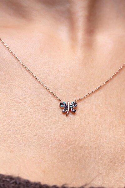 Mix Taşlı Kelebek Model Gümüş Kolye