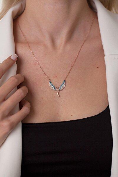 Kadın Melek Model Turkuaz Taşlı Gümüş Kolye NNVSLVR02245