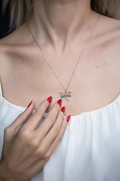 Kadın Yusufçuk Model Turkuaz Taşlı Rose Kaplama Gümüş Kolye İZLASLVR00588