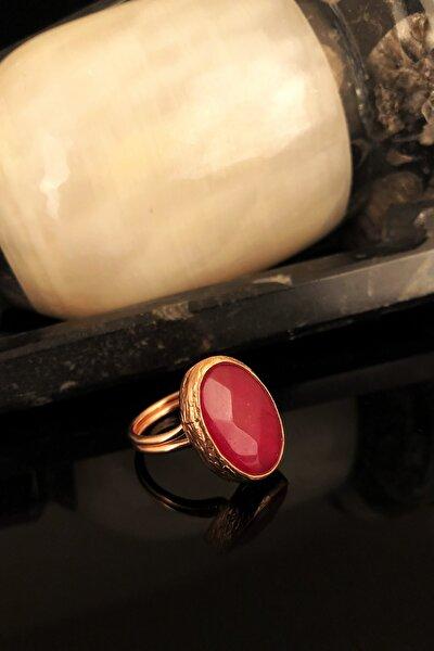 Dr Stone Doğaltaş Kadın Kedigözü Taşı Rose Altın Kaplama Yüzük KRB340