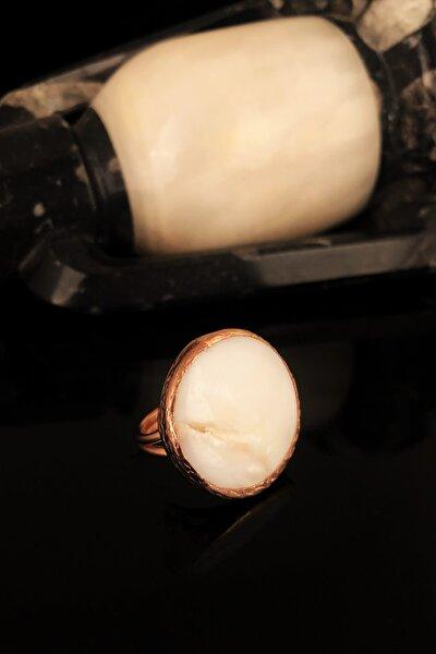Dr Stone Doğaltaş Kadın Sedef Taşı Rose Altın Kaplama Yüzük KRB375