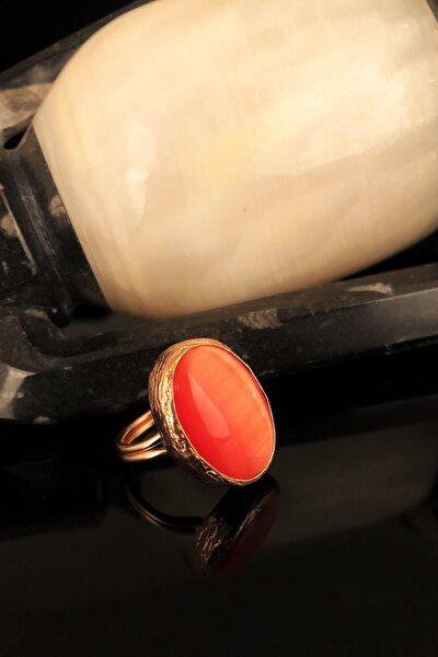 Dr Stone Doğaltaş Kadın Kedigözü Taşı Rose Altın Kaplama Yüzük KRB339