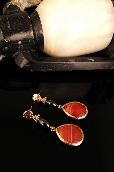 Doğaltaş Kadın Akik ve Hematit Taşı Rose Altın Kaplama Küpe KRB398