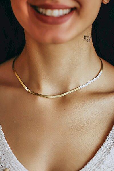 İtalyan Yassı Zincir Altın Kaplama 925 Ayar Gümüş Zincir UVPS100062