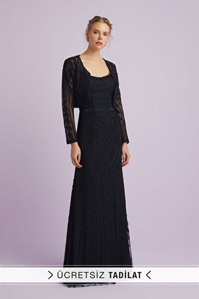 Kadın Siyah Dantel İşlemeli Straplez Abiye Elbise 8705