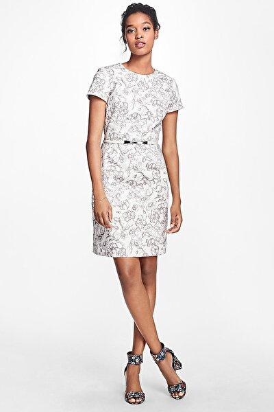 Kadın Krem Çiçek Desenli Elbise