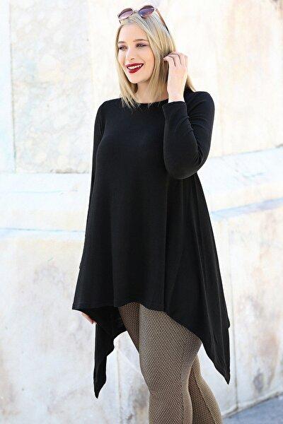 Kadın Siyah Etek Verev Uç Uzun Kol Tunik M9296