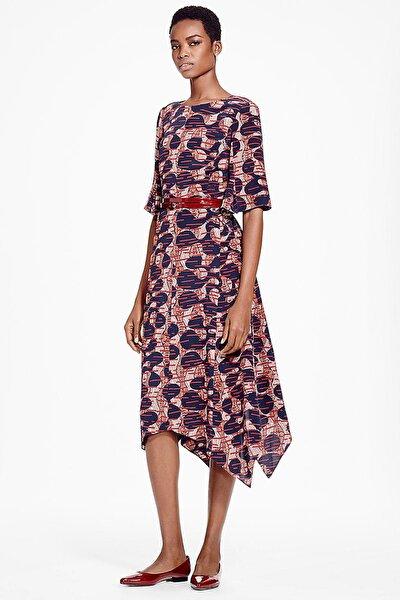 Kadın Lacivert/pembe Desenli Ipek Yarım Kollu Elbise