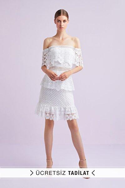 Kadın Beyaz Kayık Yaka Dantel İşlemeli Kısa Nikah Elbisesi WBM1708WHT