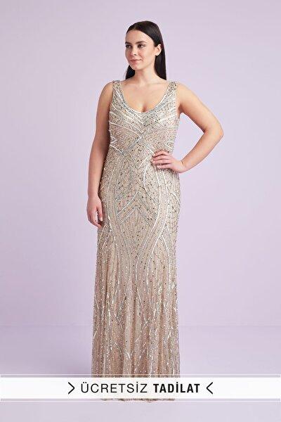 Viola Chan Kadın Şampanya Rengi Askılı Payetli Uzun Abiye Elbise 4XLWGIN0042_CHAMPAGNE